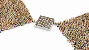 Crowd_of_small_symbolic_figures,_labyrinth_bottleneck,_3d_illustration,_horizontal_background,_over_white,_isolated