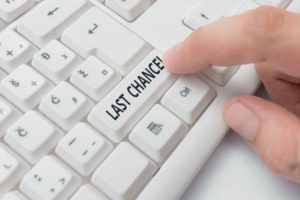 Text_sign_showing_Last_Chance._Business_photo_showcasing_final_opportunity_to_achieve_or_acquire_something_you_want_White_pc_keyboard_with_empty_note_paper_above_white_background_key_copy_space