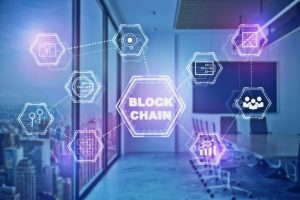 Abstract_conference_room_with_block_chain_hologram._Infograph_concept._Double_exposure_