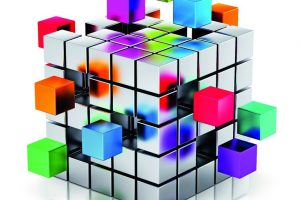 Creative_abstract_business_teamwork,_internet_and_communication_concept:_colorful_cubic_structure_with_assembling_metallic_cubes_isolated_on_white_background