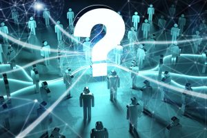 Question_mark_and_dots_connections_illuminating_a_group_of_people_3D_rendering