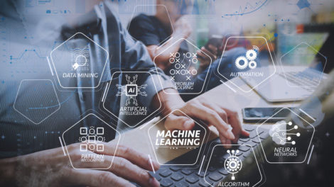 Machine_learning_technology_diagram_with_artificial_intelligence_(AI),neural_network,automation,data_mining_in_VR_screen.Coworking_process,_entrepreneur_team_working_in_creative_office_space_using_digital_tablet.