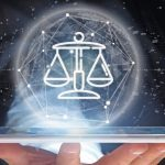 View_of_Businessman_holding_Cloud_of_justice_and_law_icon_bubble_with_data_3d_rendering