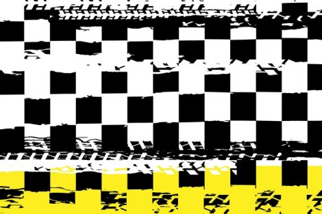 Grunge_checkered_racing_background_with_tire_imprints_elements._Vector_illustration_and_yellow,_black_and_white_colors._Automotive_rallying_concept_in_modern_style.