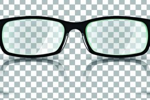 Vector_illustration_about_eyesight._Black_stylish_realistic_glasses_close-up_isolated._For_poster,_adv,_web_template.
