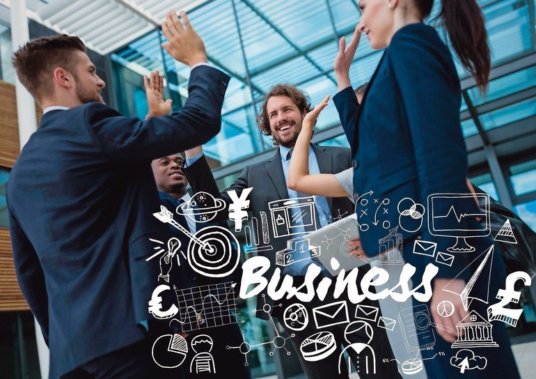 Digital_composite_of_Business_group_high_fiving_with_white_business_doodles