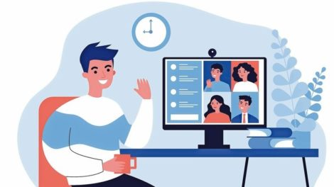 Worker_using_computer_for_collective_virtual_meeting_and_group_video_conference._Man_at_desktop_chatting_with_friends_online._Vector_illustration_for_videoconference,_remote_work,_technology_concept