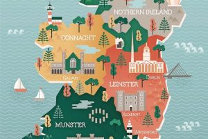 Flat_vector_illustration_with_stylized_travel_map_of_Ireland._The_landmarks_and_main_cities_like_Dublin_and_Belfast._Text_Welcome_to_Ireland