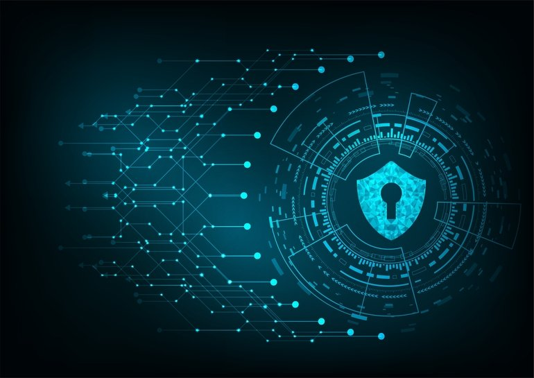 Cyber_security_concept:_Padlock_With_Keyhole_icon_on_digital_data_background._Illustrates_cyber_data_security_or_information_privacy_idea._Blue_abstract_hi_speed_internet_technology.