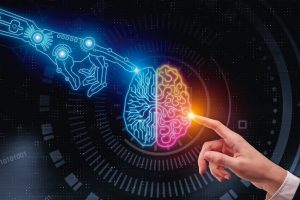 Hand_pointing_at_glowing_digital_brain._Artificial_intelligence_and_future_concept._3D_Rendering_