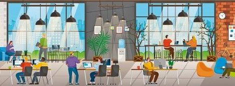 Coffee_shop_and_office_in_one_building._Coworking_people_at_work._Characters_on_business_meeting_brainstorming_on_new_project._Personages_in_drinking_tea_beverage_at_coffeehouse_vector_in_flat